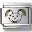 Baby Girl Laser Italian Charm  Click to enlarge