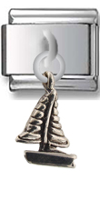 Sailing Boat Sterling Silver Italian Charm  Click to enlarge