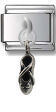 Ballet Shoe Sterling Silver Italian Charm  Click to enlarge