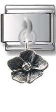 Flower Sterling Silver Italian Charm  Click to enlarge