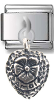 Heart Flower Sterling Silver Italian Charm  Click to enlarge