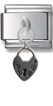 Heart Lock Sterling Silver Italian Charm  Click to enlarge