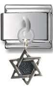 Star of David Sterling silver Italian Charm  Click to enlarge