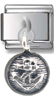 Anchor in Circle Sterling Silver Italian Charm  Click to enlarge