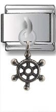 Ship Wheel Sterling Silver Italian Charm  Click to enlarge