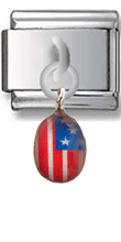 American Flag Sterling Silver Italian Charm  Click to enlarge