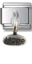 Love- Hope Sterling Silver Italian Charm  Click to enlarge