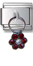 Dangle Red Flower Zirconia Italian Charm  Click to enlarge