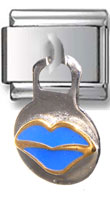 Dangle Blue Lips Italian Charm  Click to enlarge
